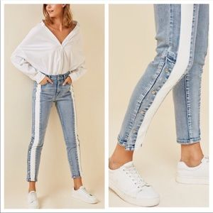 Denim - Snap Button Skinny Jeans